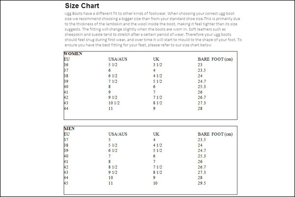 OZ Native Size chart men and women