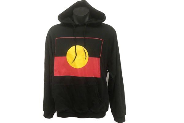 BHDAF black hoodie Aboriginal flag trimmed