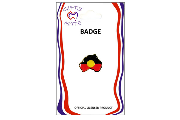 Badge australian map shape aboriginal flag update