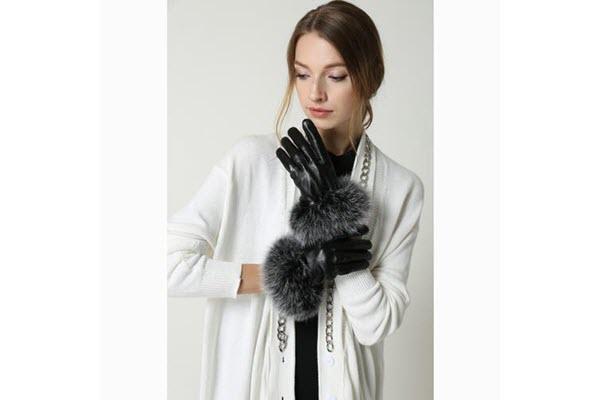 OB044 Fox fur lined glove mainjpg